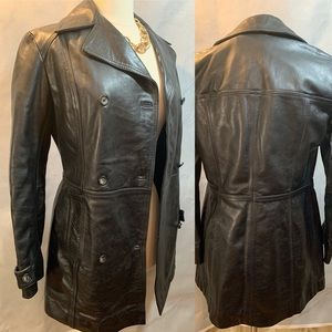 Women's Timberland Leather Coat Black S Genuine
